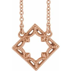 "14K Rose Vintage-Inspired Geometric 18"" Necklace"