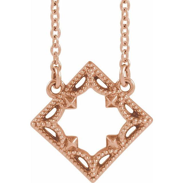 14K Rose Vintage-Inspired Geometric 18