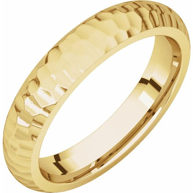 14K Yellow 4 mm Half Round Band with Hammer Finish Size 9.5