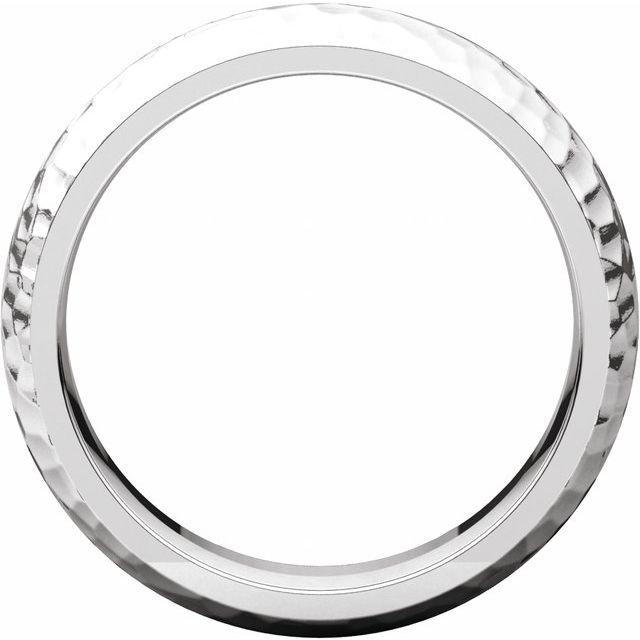 14K White 6 mm Half Round Band with Hammer Finish Size 10