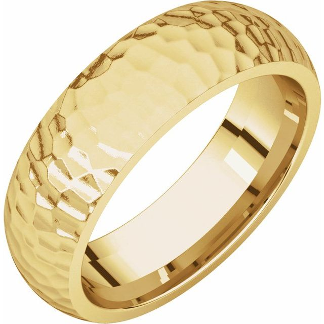 14K Yellow 6 mm Half Round Band with Hammer Finish Size 7.5