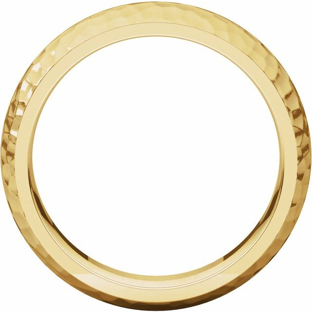 14K Yellow 6 mm Half Round Band with Hammer Finish Size 10