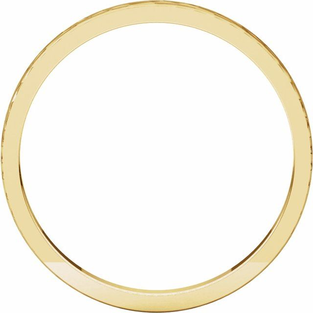 14K Yellow 2 mm Flat Band with Hammer Finish Size 8