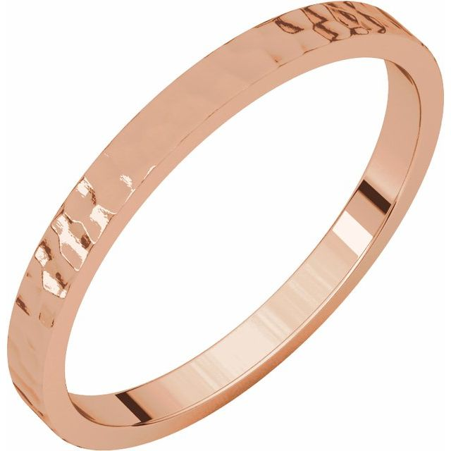 14K Rose 2 mm Flat Band with Hammer Finish Size 7