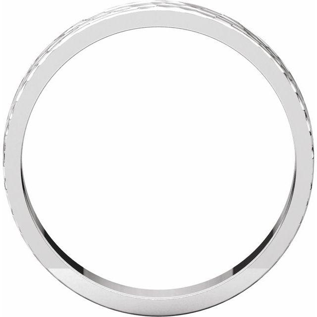 14K White 4 mm Flat Band with Hammer Finish Size 10
