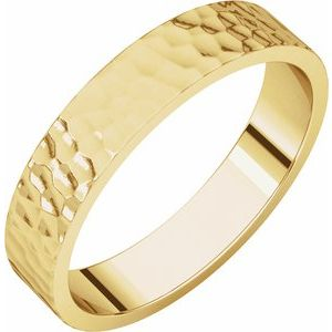 14K Yellow 4 mm Flat Band with Hammer Finish Size 10