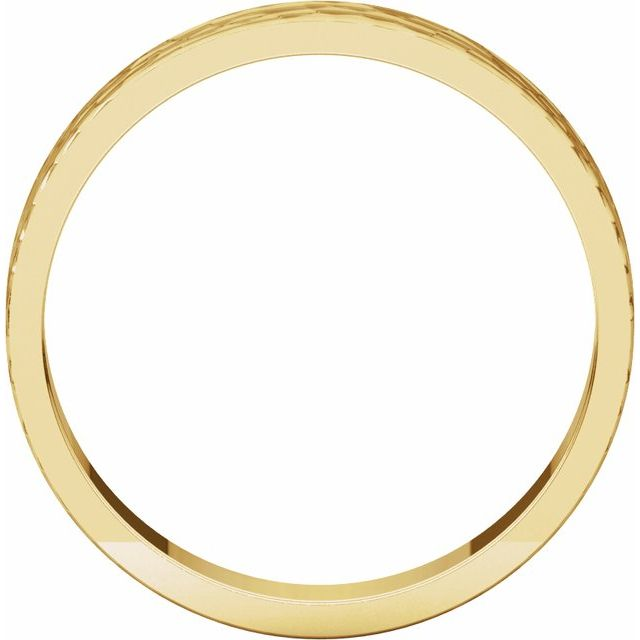 14K Yellow 4 mm Flat Band with Hammer Finish Size 5.5