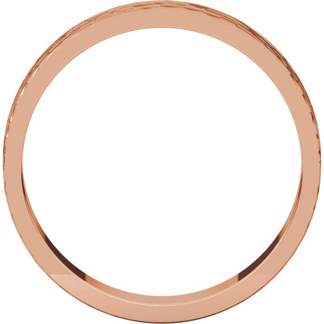 14K Rose 4 mm Flat Band with Hammer Finish Size 5.5