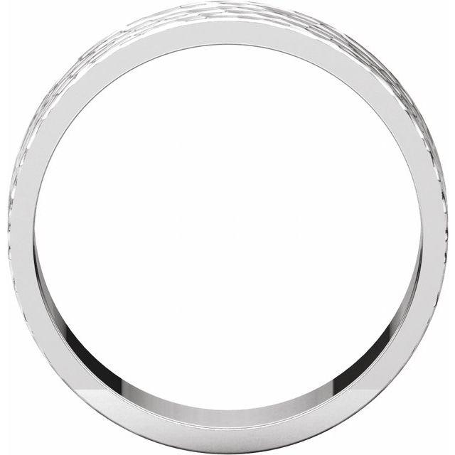 14K White 6 mm Flat Band with Hammer Finish  Size 11