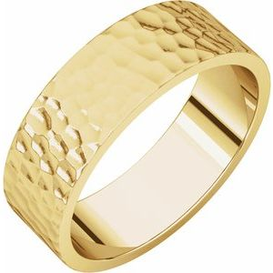 14K Yellow 6 mm Flat Band with Hammer Finish Size 12