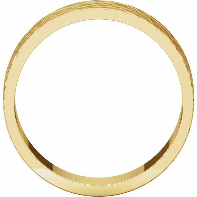 14K Yellow 6 mm Flat Band with Hammer Finish Size 6.5