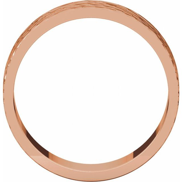 14K Rose 6 mm Flat Band with Hammer Finish Size 8