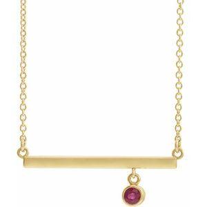 """14K Yellow Ruby Bezel-Set 18"""" Bar Necklace"""
