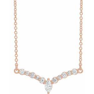 "14K Rose 1/3 CTW Diamond 18"" ""V"" Necklace"