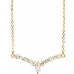 "14K Yellow 1/3 CTW Diamond 16"" ""V"" Necklace"