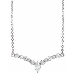 "14K White 1/3 CTW Diamond 18"" ""V"" Necklace"