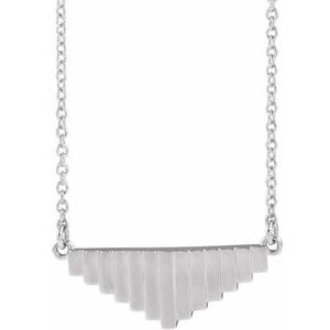 "14K White 18"" Geometric Necklace"