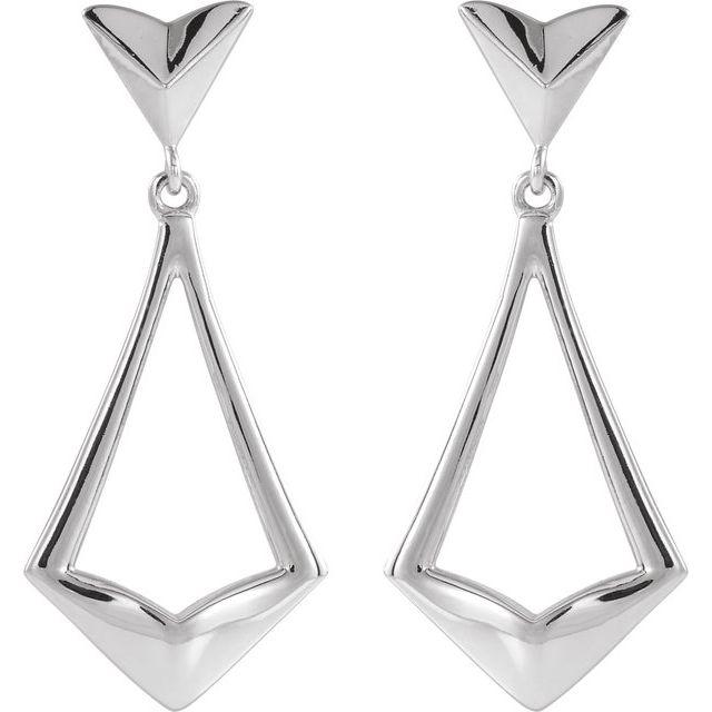Sterling Silver Geometric Dangle Earrings with Backs