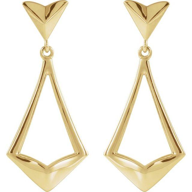 14K Yellow Geometric Dangle Earrings with Backs
