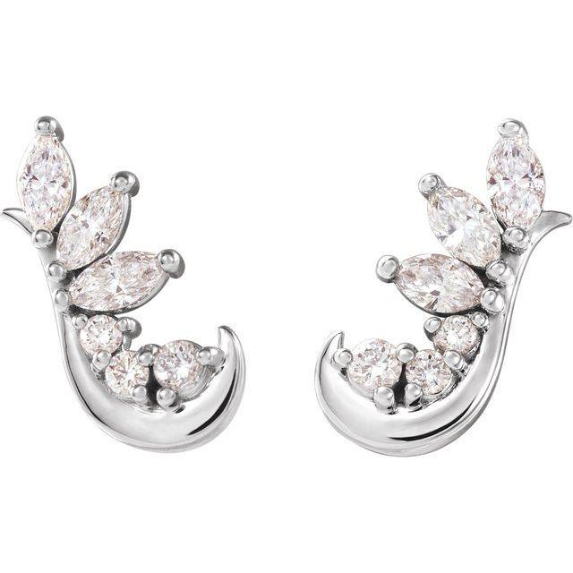 14K White 1/4 CTW Diamond Earring Climbers