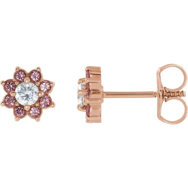 14K Rose Baby Pink Topaz & Cubic Zirconia Earrings