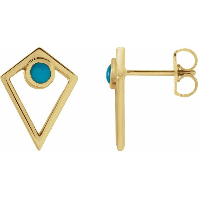 14K Yellow Turquoise Cabochon Pyramid Earrings