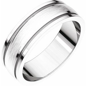 Continuum Sterling Silver 8 mm Flat Edge Band with Satin Finish & Milgrain Size 14