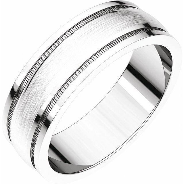 10K White 8 mm Flat Edge Band with Satin Finish & Milgrain Size 7.5