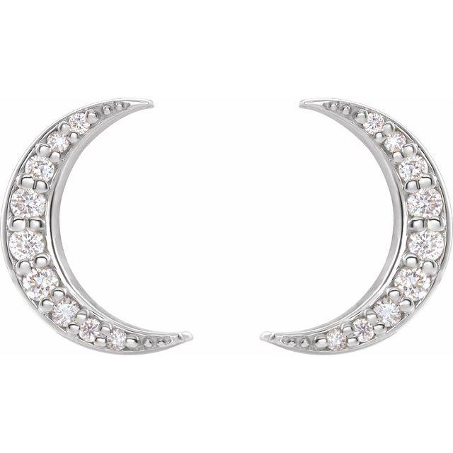 14K White 1/10 CTW Diamond Crescent Moon Earrings