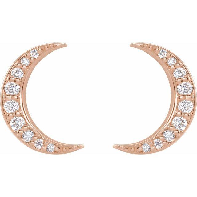 14K Rose 1/10 CTW Diamond Crescent Moon Earrings