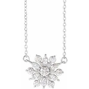 "14K White 1/2 CTW Diamond Vintage-Inspired 16"" Necklace"
