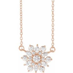 "14K Rose 1/2 CTW Diamond Vintage-Inspired 16"" Necklace"