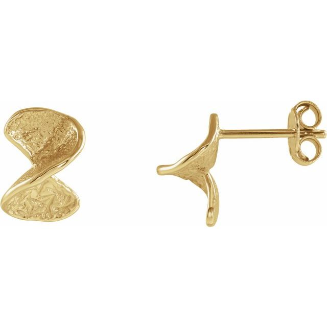 14K Yellow Twisted Stud Earrings with Backs