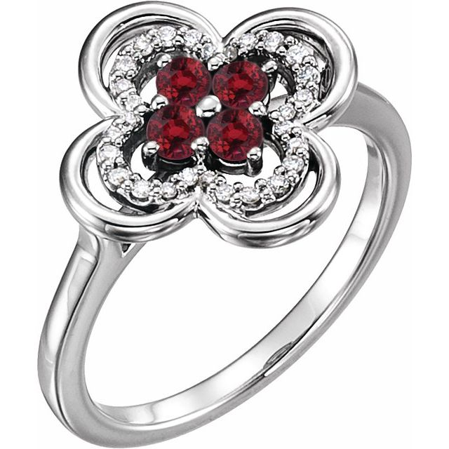 14K White Lab-Grown Ruby & 1/10 CTW Diamond Ring