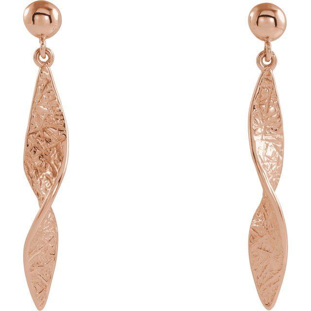 14K Rose Twisted Dangle Earrings