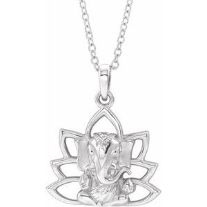 "Sterling Silver Ganesha 16-18"" Necklace"