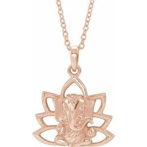 "14K Rose Ganesha 16-18"" Necklace"