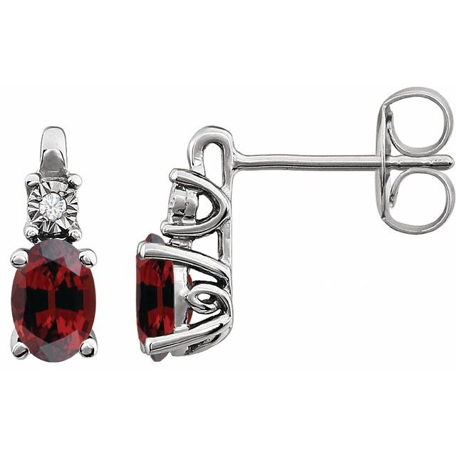 14K White Mozambique Garnet & .02 CTW Diamond Earrings