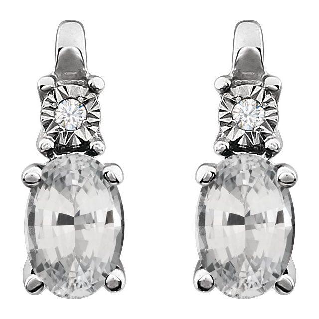 14K White Lab-Grown White Sapphire & .02 CTW Natural Diamond Earrings