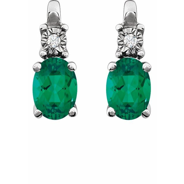 14K White Created Emerald & .02 CTW Diamond Earrings