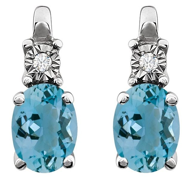 14K White Aquamarine & .02 CTW Diamond Earrings