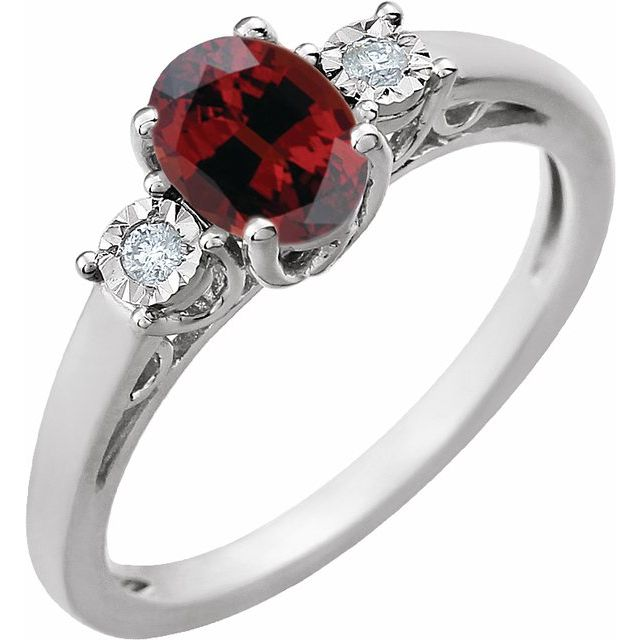 14K White Mozambique Garnet and .04CTW Diamond Ring