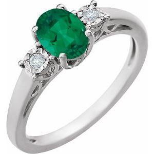 14K White Created Emerald and .04CTW Diamond Ring