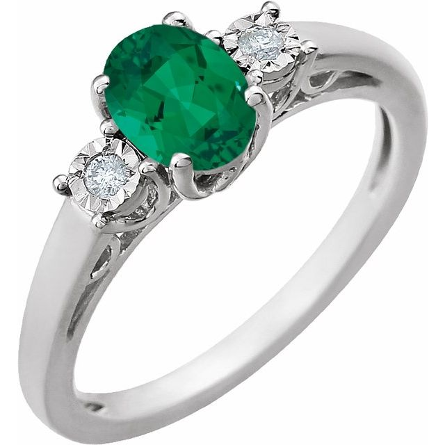 14K White Created Emerald and .04CTW Diamond Ring