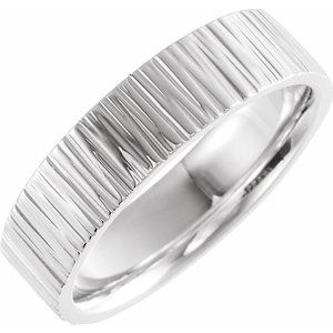 Sterling Silver 6 mm Tree Bark Pattern Band  Size 11