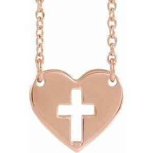 """14K Rose Pierced Cross Heart 16-18"""" Necklace"""