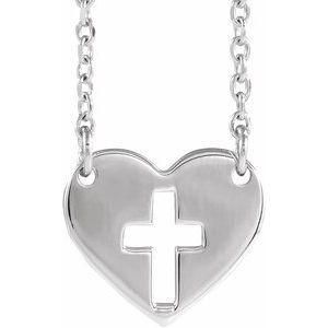 """Sterling Silver Pierced Cross Heart 16-18"""" Necklace"""