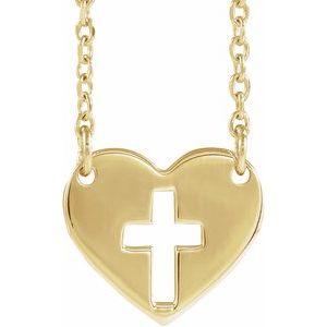 """14K Yellow Pierced Cross Heart 16-18"""" Necklace"""
