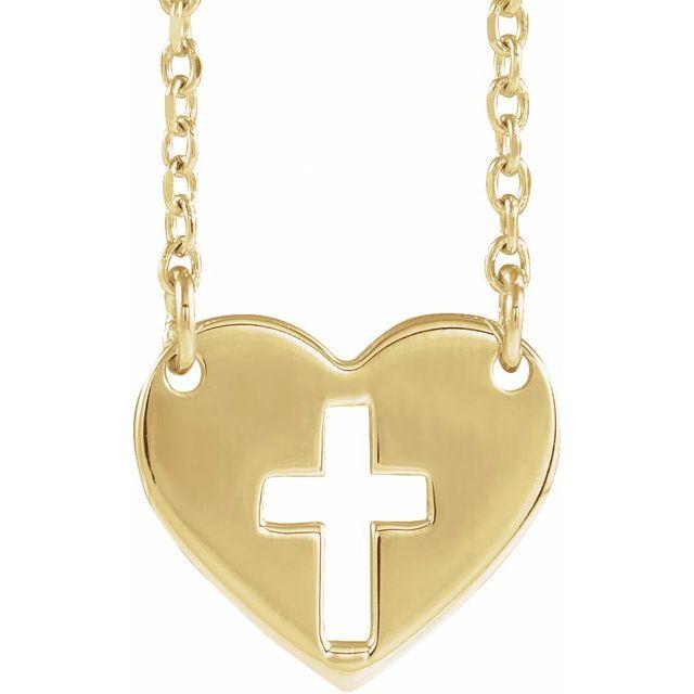 14K Yellow Pierced Cross Heart 16-18