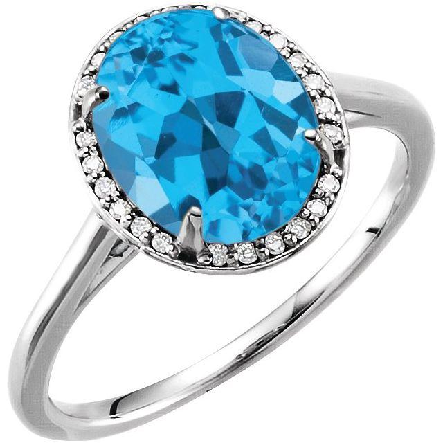 14K White 10x8 mm Oval Swiss Blue Topaz & .06 CTW Diamond Ring